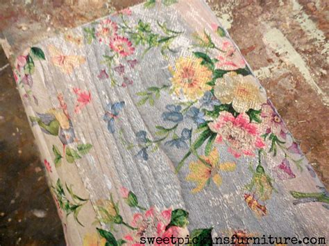 serviette decoupage on wood sweet pickins napkins on wood furniture painting ideas