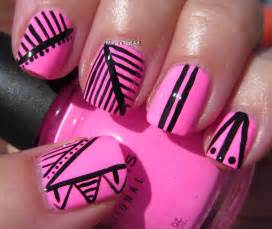 gallery for gt pink and black nail art