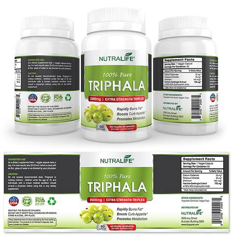 pure triphala supplement label template