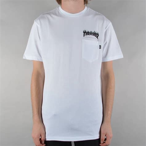 Kaos Trasher 9 vans x thrasher pocket t shirt white skate clothing