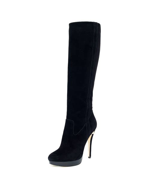 michael michael kors york suede knee boot in black lyst