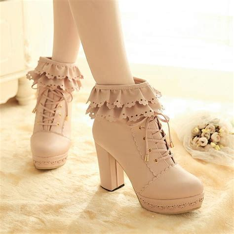 japanese sweet falbala high heeled boots 183 fashion