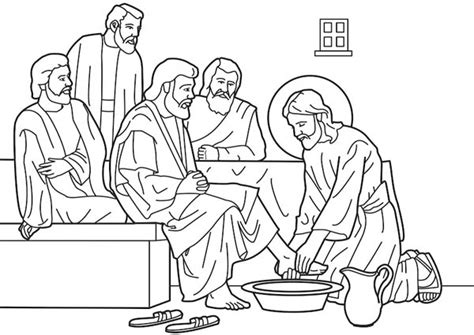 How To Draw His Disciples Jesus Washes The Disciples Coloring Page