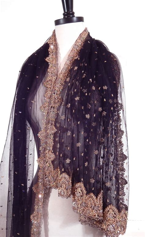 beaded scarf beaded shawl black scarf embroidered shawl indian shawl