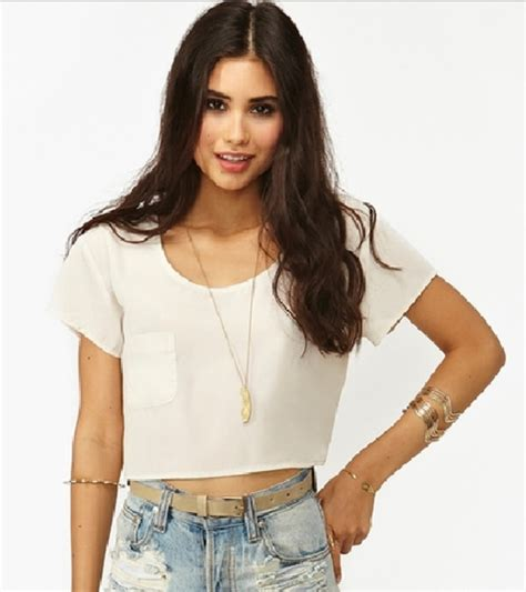 44153 Black White Crop Shirt S M L Top sleeve crop top at boohoo