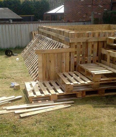 handmade pallet outdoor swimming pool building