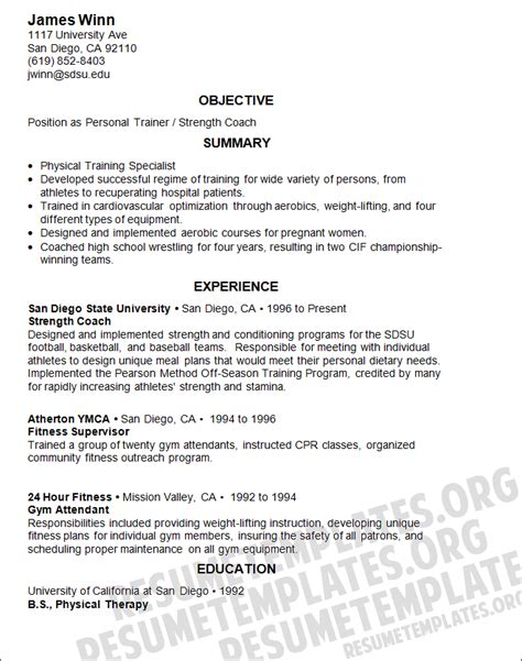 Athletic Resume Template free sle computer trainer resume exle created using