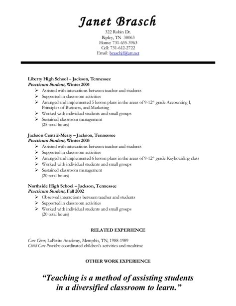 Student Teaching Resume by Student Resume Resume Ideas