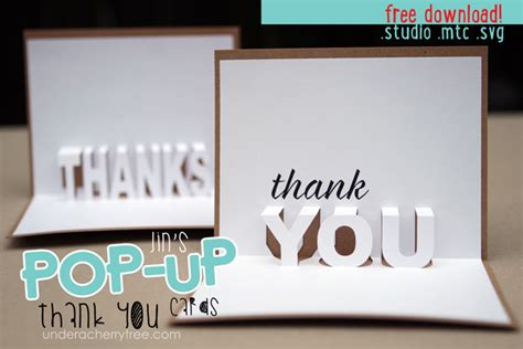 thank you card template cricut free downloads jin s pop up thank you cards cherry