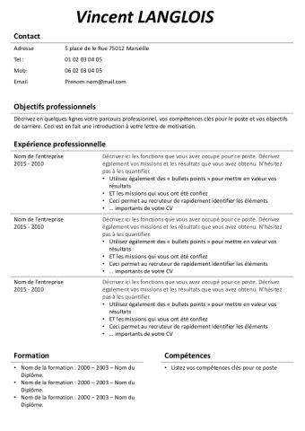Curriculum Vitae Professionnel Modèle by Mod 232 Le De Curriculum Vitae Professionnel Comment Ecrire Un