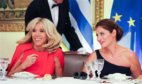 Brigitte Macron joins Emmanuel Macron for Greek state dinner wearing sultry red dress   Life