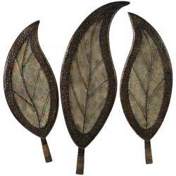 Metal Leaf Wall Decor by Botanical Iron And Glass Indoor Outdoor Wall Set Of