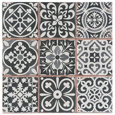 victorian marrakesh black decor wall floor tile 33x33cm