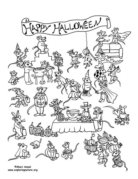 printable hidden pictures halloween mouse halloween party coloring page