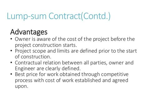 Mba In Construction Management Scope by Types Of Contract In Construction Management