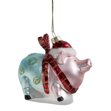 nordal pig christmas decorations by bell blue