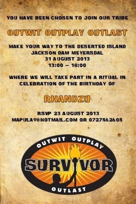 Survivor Party Postcard Invitation Girl Scouts Pinterest Survivor Invitation Template