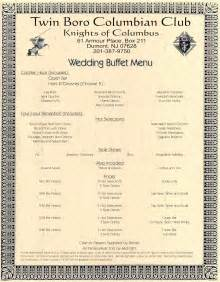 wedding menus buffet st s council 1345 knights of columbus