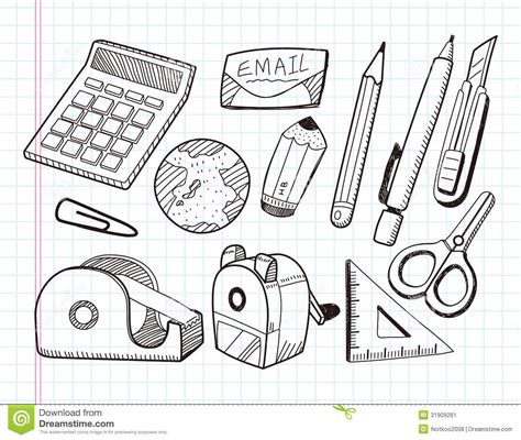 doodle draw icon pack doodle stationery icons stock vector image of collection