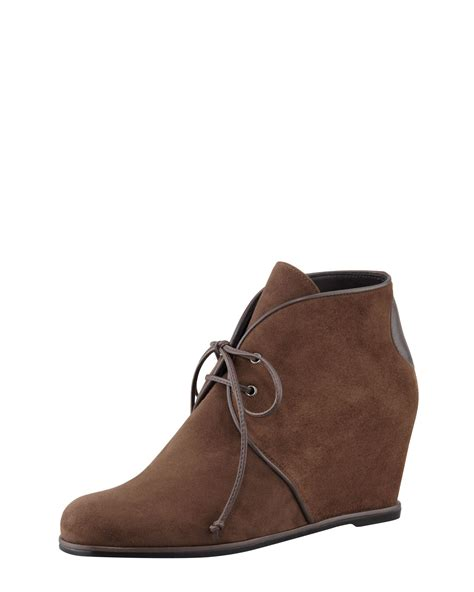 Wedges Boot 1 stuart weitzman kalahari suede wedge laceup boot in brown earth lyst