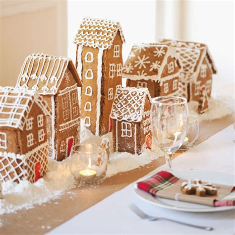 sweet tooth gingerbread village table runner