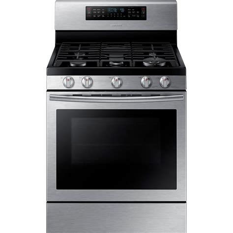 samsung 30 in 5 8 cu ft flex duo oven gas range with self cleaning dual convection