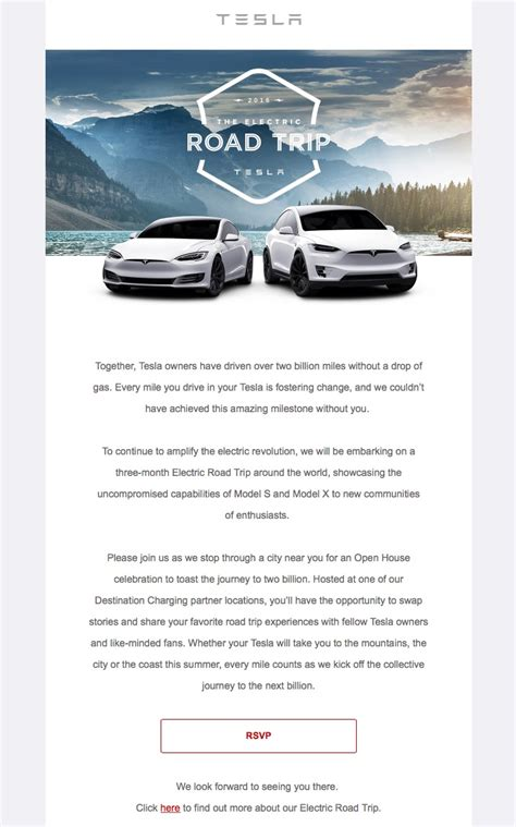 tesla invites owners to take an electric road trip through