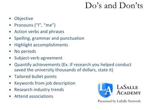 lasalle academy resume workshop