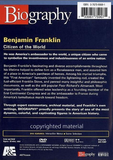 biography benjamin franklin citizen of the world biography benjamin franklin dvd dvd empire