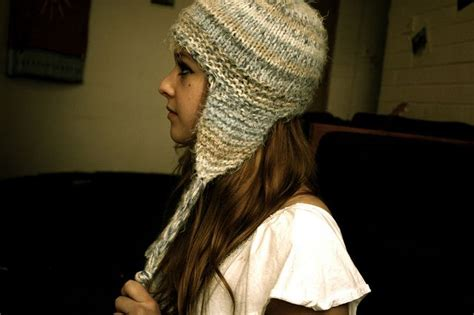 earflap hat knitting pattern sensation quot hair quot yarn earflap hat knitting