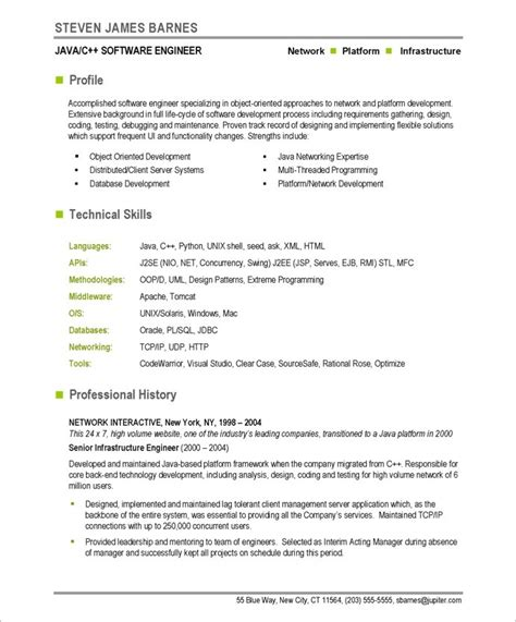 Resume Templates Software Engineer Free 10 Resume Sle Software Engineer Professional Writing