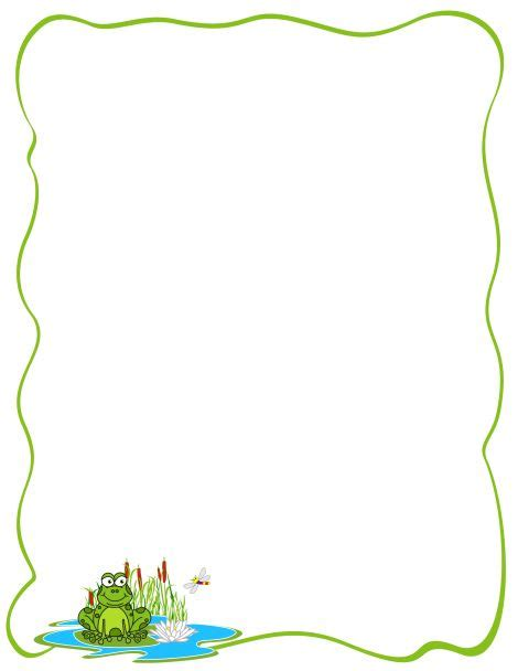 frog border writing paper a page border featuring a frog on a pad free