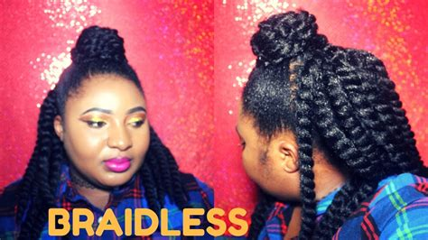 how to do a braidless braid with the topsy tail braidless crochet braids half up half down quick