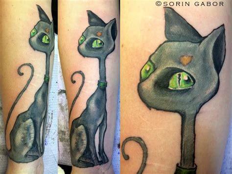 cat tattoo tim burton illustrative color vincent cat by sorin gabor tattoos