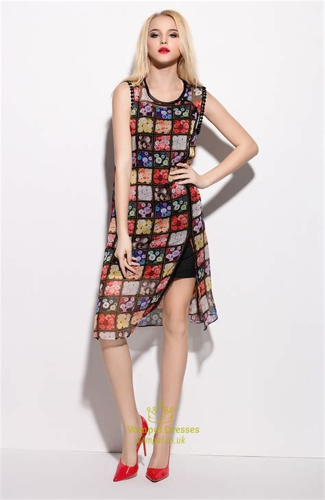 multi coloured l multi coloured sleeveless floral print chiffon overlay