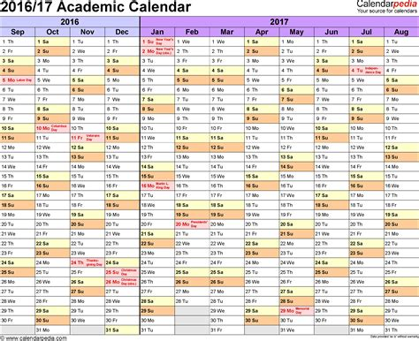 Byu Academic Calendar 2017 Academic Calendars 2016 2017 As Free Printable Word Templates