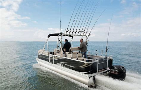 deep sea fishing boat setup the angler qwest pontoon boat get serious boats