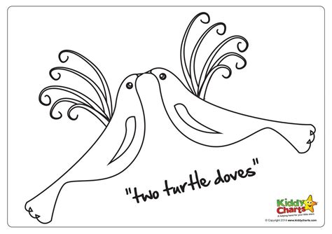 12 Days Of Coloring Page On The Second Day Of Christmas Two Turtle Doves by 12 Days Of Coloring Page