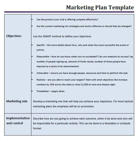 marketing business plan template marketing schedule template 6 free sles exles