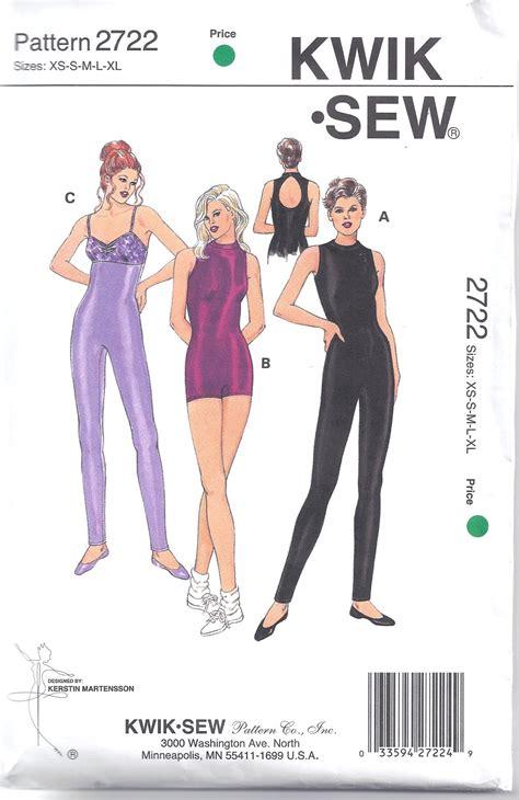 sewing pattern unitard kwik sew pattern 2722 leotard exercise yoga unitard size