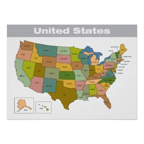 map of the united states poster full color map of the united states poster zazzle
