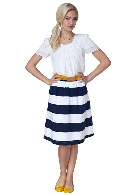 Blue Pleated Stripe Top Size S M 14798 horizontal striped cotton modest skirt in navy white