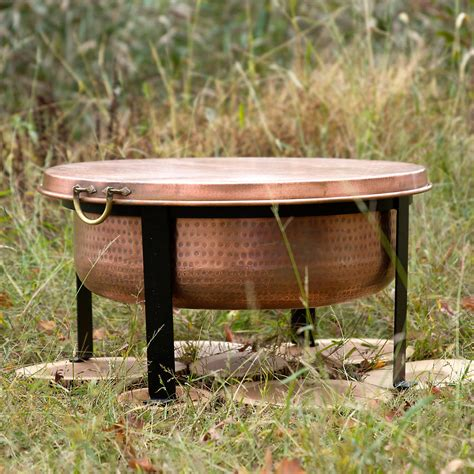 Handcrafted Copper Fire Pit Grill Table The Green Head Grill Firepit