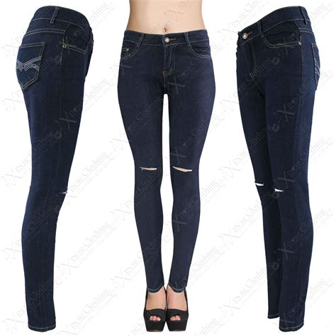 Knee Ripped Washed Premium Quality All Brand New new blue wash ripped denim stretch fit rip knee ebay