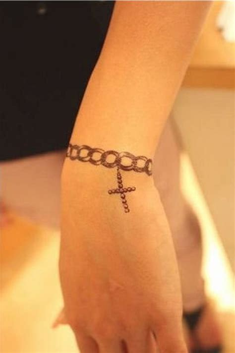 wrist chain tattoo cross henna designs cross and chain tattoos for