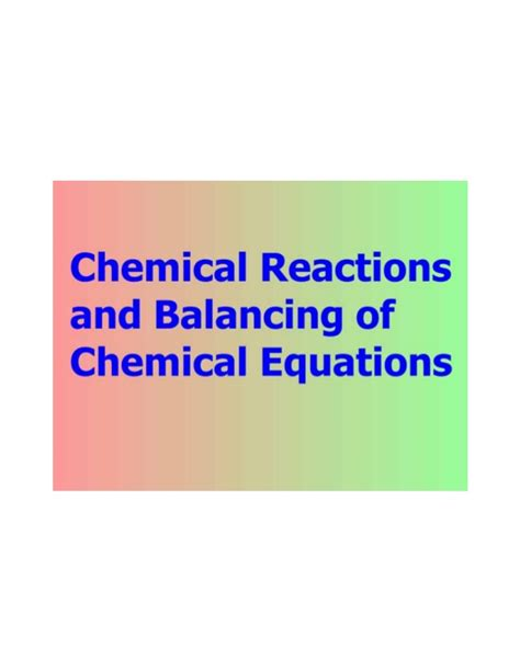 chemical reaction and balancing chemical equation
