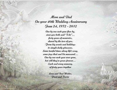 50th Wedding Anniversary Poems   40th Wedding Anniversary