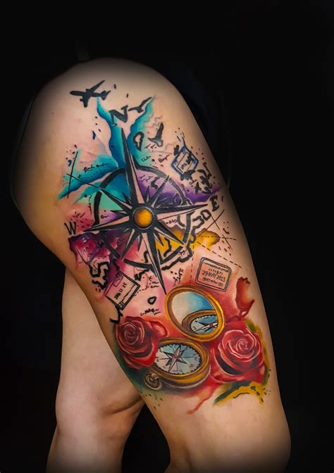 watercolor tattoo oklahoma water color compass travel