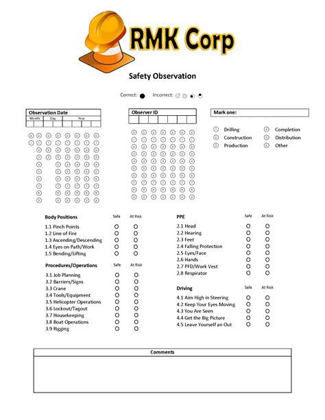 safety observation report template safety observation form 183 remark software