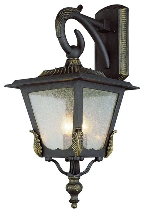 Traditional Outdoor Wall Lights Black Gold And Seeded Glass Exterior Light Traditional Outdoor Wall Lights And Sconces By